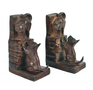 Awesome Unique French 1930s Art Deco Cat Dog Animal Sculpture Bookends