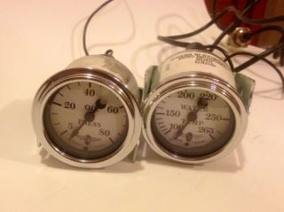 Stewart Warner Wings Oil Pressure and Water Temp Gauge Hot Rod Rat Rot Custom