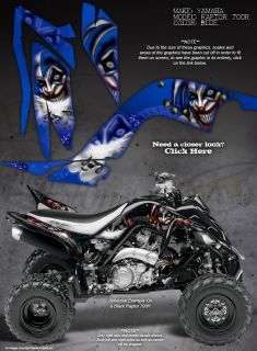 "Yamaha Raptor 700 700R Graphics ""The Evil Jester"" Blue"