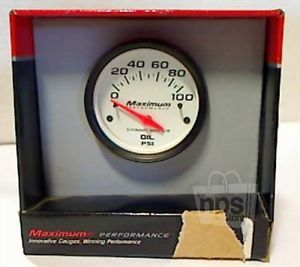 "Stewart Warner 2"" in Dash Electric Oil Pressure Gauge 0 100 PSI White Black"