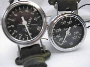 2 Vintage Stewart Warner Gauges Oil Temp Pressure Nice Rat Rod