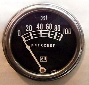 "Stewart Warner 82209 Oil Pressure Gauge 100 PSI Black 2 1 16"" Analog Mechanical"