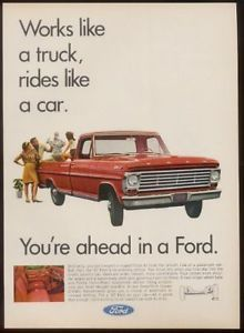 1967 Red Ford Pickup Pick Up Truck Photo Vintage Ad