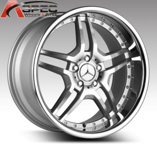 "20"" Staggered Euro Mag EM2 Silver Machined Chrome 5x112 25 Wheels Mercedes AMG"