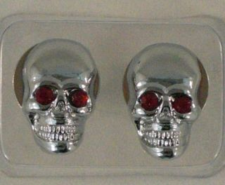 "Metal 2 Chrome ""Red Eye Skull"""" License Plate Frame Bolts Motorcycle Lic Tag"