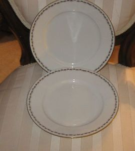 Set of 2 Royal Innisbrook Vienna China Plates MZ Austria Marking 18 Karat Gold