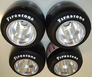 Set of New Firestone YJF Racing Go Kart Tires Vank Machined Wheels