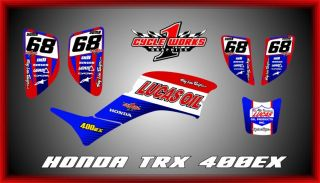 Honda TRX 400EX 99 08 Custom Made Lucas Graphics Kit Decals Graficas Pegatinas