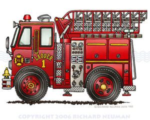 468 Fire Truck Ladder Truck Print Kids Wall Decor Art