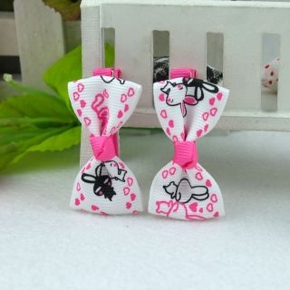 One Pair 2 Pcs Handmade Cute Bunny Barrettes Hair Clips Baby Girl Toddler 017