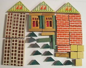 Vintage Lot of Toy Wooden Building Blocks 1950'S