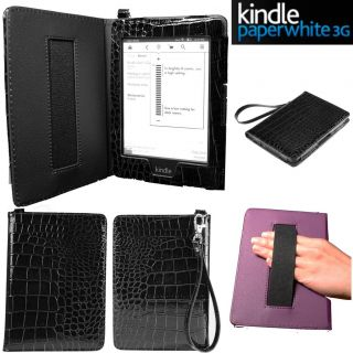 Kindle Paperwhite Crocodile Pattern Cover Case Handstap Purple Screen Protector
