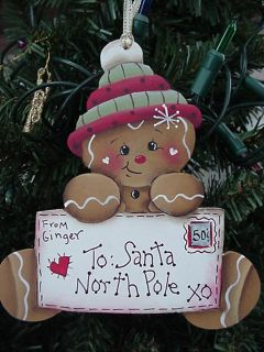 "HP Hand Painted Gingerbread ""Letter to Santa' Christmas Tree Ornament"