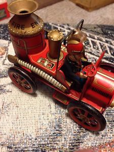 Vtg Marx Modern Tin Toy Firetruck Japan Fire Engine Fireman Friction Truck 1912