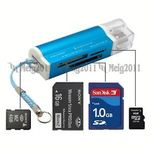 USB 2 0 Multi Memory Card Reader for Micro SD SDHC MS SD MMC M2 TF T Flash 662U