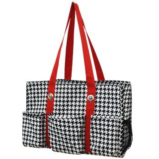 Houndstooth Print Travel Caddy Organizer Tote Bag