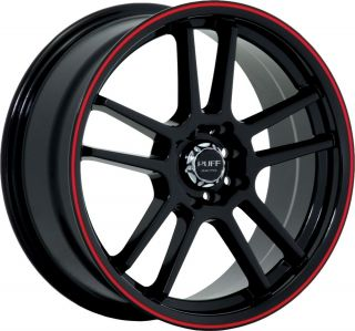 "18"" inch 4x100 4x4 5 Black w Red Stripe Wheels Rims 4 Lug Honda Nissan Saturn"