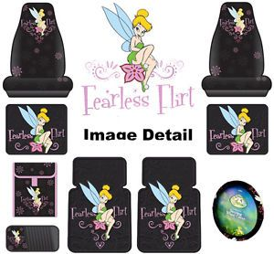 Tinkerbell Car Truck 9 Pcs Set Seat Covers Floor Mat CD Wheel Fearless