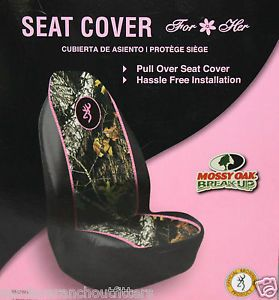 Browning Pink Buckmark Mossy Oak Break Up Camo Seat Cover Truck Car Auto