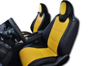 Chevy Camaro 2010 2013 Black Yellow s Leather Custom Fit Front Seat Cover