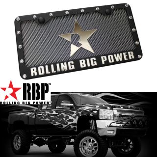 RBP Black Powder Coated Rivets Raised License Plate Frame Chevrolet Jeep Ford