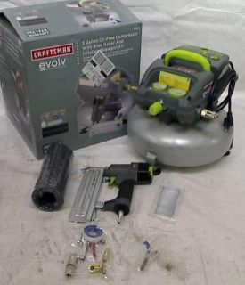 Craftsman Evolv 3 Gallon Pancake Air Compressor with 2 in Brad Nailer And