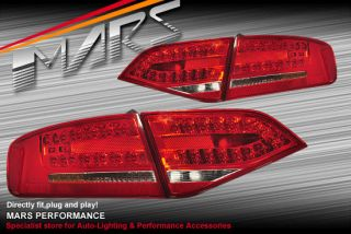 Audi A4 S4 RS4 B8 09 12 4 Doors Sedan Clear Red LED Tail Lights Taillight