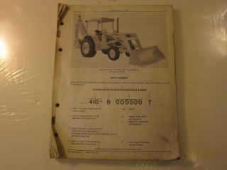 1971 John Deere JD410 Loader Backhoe Tractor Parts Catalog Lots More Listed