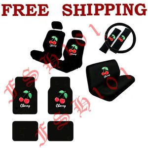 New 15pcs Set Red Cherry Car Seat Covers Steering Wheel Cover Floor Mats