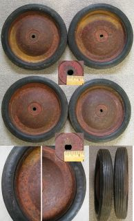 Set Old Stock Pedal Car Toy Tractor Tires Wheel Rim AMF Eska Murry Wagon Case