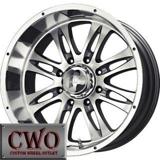 20 Silver MB Gunner 8 Wheels Rims 8x165 1 8 Lug Chevy GMC Dodge 2500 2500HD