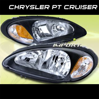 Chrysler 01 05 PT Cruiser Touring Limited GT Black Headlights New Pair Assembly