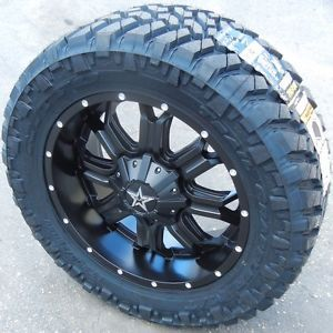 "20"" Black Tis 535B Wheels Rims Nitto Trail Tire Chevy Silverado GMC Sierra Titan"