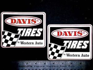 Davis Tires Western Auto Set of 2 Original Vintage Racing Decals Stickers