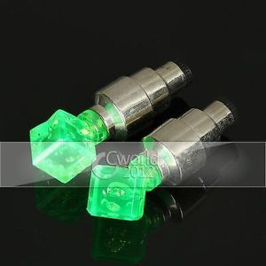 2X Car Bike Dice Wheel Tyre Tire Valve Cap Covers LED Green Lights Decoration
