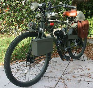 Motorized Bicycle Harley Davidson WWII Army Motorcycle Replica Moped Bike