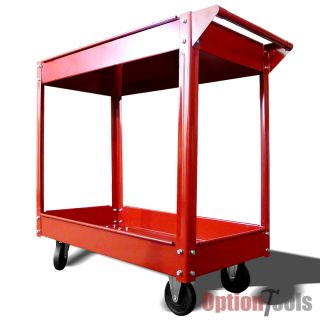 2 Shelf Rolling Red Service Shop Utility Tray Tool Cart Garage Tool Parts New HD