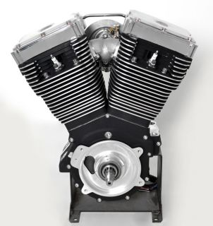 Complete Black Chrome Demons 114CI Engine Custom Motor by Ultima Fit EVO Harley