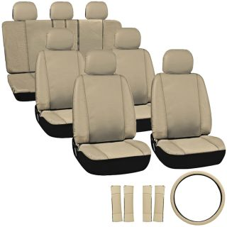 23pc Full Set Tan Beige Brown Auto Van Seat Covers Buckets Bench Wheel Head Belt