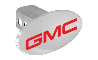 GMC Red Block Letters Emblem Metal Trailer Hitch Cover Plug