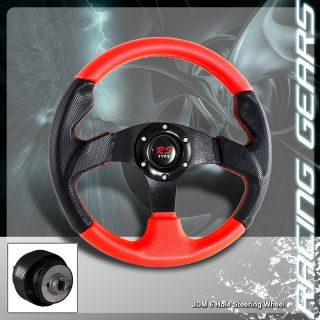 Toyota Honda Acura 320mm Black Red PVC Leather Steering Wheel Hub Adapter