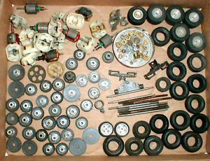 115 Vintage 1960's Junk Yard of Gears Tires More by Cox Original Slot Car Item