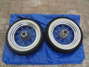 "Harley Davidson Touring Road King 16"" Chrome Spoked Wheels w White Wall Tires"