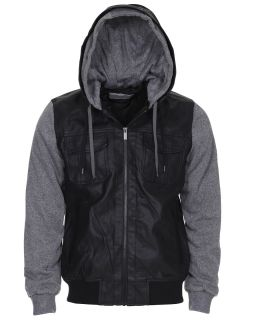 Twisted Soul Mens Casual PU Zip Up Pepper Marl Hood Clayton Jacket Black