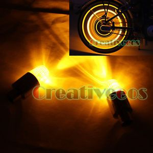 2X Bike Motorcycle Wheel Tyre Tire Valve Caps Covers Neon LED Lights Bulb Yellow