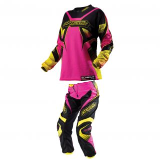 O'Neal Oneal Element Womens Pink Jersey and Pants Dirt Bike Motocross Kit Combo