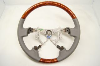 2005 2010 Toyota Avalon Steering Wheel Grey Leather with Wood Grain No Controls