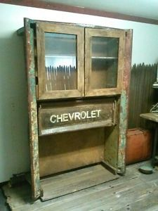 Vintage Industrial Repurposed Salvaged Chevy Truck Bed Medical Cabinet Desk