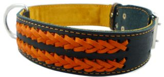 "Braided Black Leather Dog Collar 21"" 27"" XLarge 1 75"""