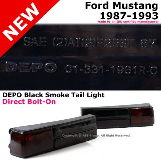 Depo Ford Mustang 87 93 2 Door Rear Trunk Bumper Tail Lights Black Red Smoke